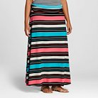 Women's Plus Size Striped Maxi Skirt Pink Stripe - Merona™