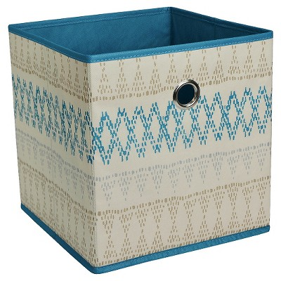 "Fabric Cube Storage Bin 11"" - Sand Blue Pattern - Room Essentials™"
