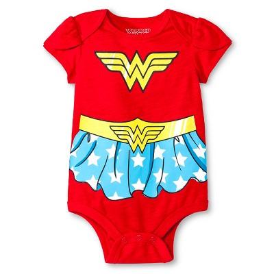 Newborn Girls' Wonder Woman Bodysuit - Red 6-9M