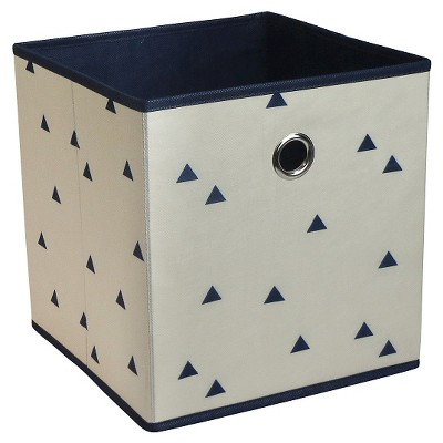 "Fabric Cube Storage Bin 11"" - Navy Triangles - Room Essentials™"
