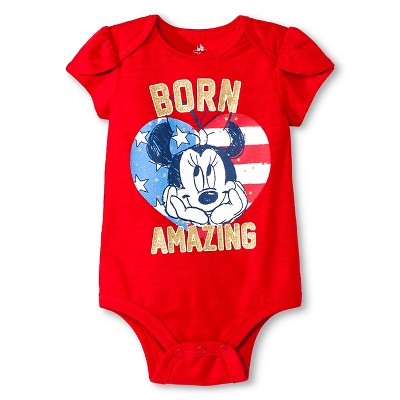 Newborn Girls' Minnie Mouse Bodysuit - Red 0-3M