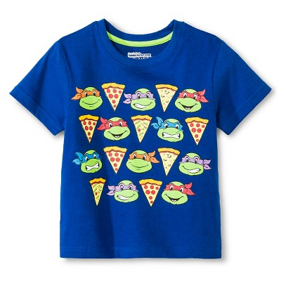 Toddler Boys' Teenage Mutant Ninja Turtles Short Sleeve Shirt - Blue 2T