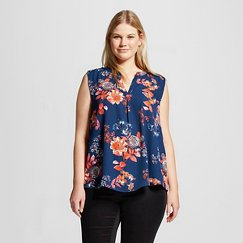 Women's Plus Size Sleeveless Floral Blouse Blue - Eclair
