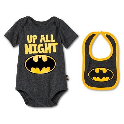 Newborn Boys' Batman Bodysuit & Bib Set - Grey 18M