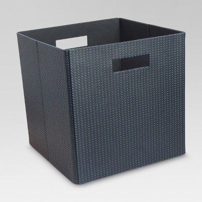"Faux Leather Cube Storage Bin 13"" - Perforated Blue - Threshold™"