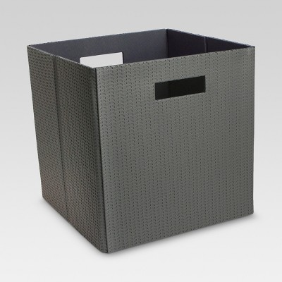 """Faux Leather Cube Storage Bin 13"""" - Perforated Gray - Threshold™"""