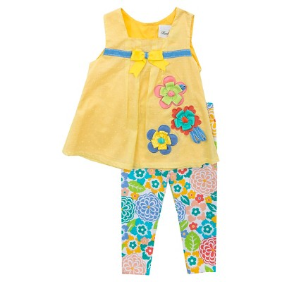 Rare-Too! Baby Girls' Flower Clip Dot Top with Legging - Yellow/Multi 6-9 M