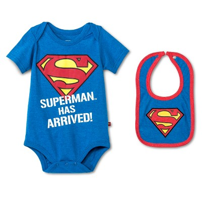 Newborn Boys' Superman Bodysuit & Bib Set - Blue 3-6M