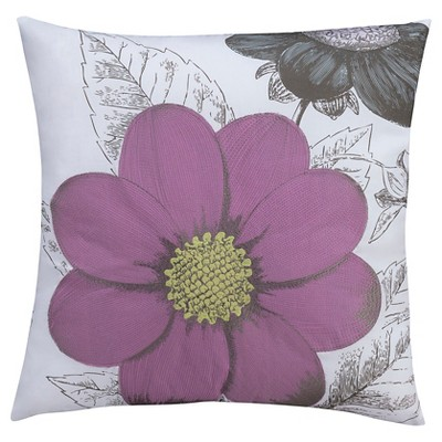 "Seedling By ThomasPaul® Botanical Floral Toss Pillow 18""X18"" - White&Purple"
