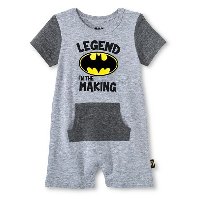 Newborn Boys' Batman Romper - Grey 0-3M