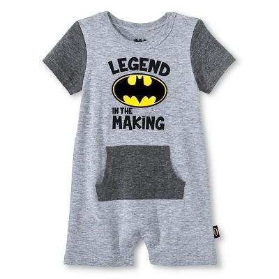 Newborn Boys' Batman Romper - Grey 6-9M
