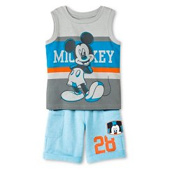 Toddler Boys' Mickey Mouse™ Tank Top and Short Set - Gray & Blue