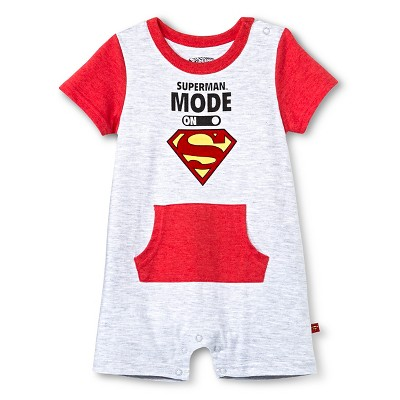 Newborn Boys' Superman Romper - Grey & Red 0-3M