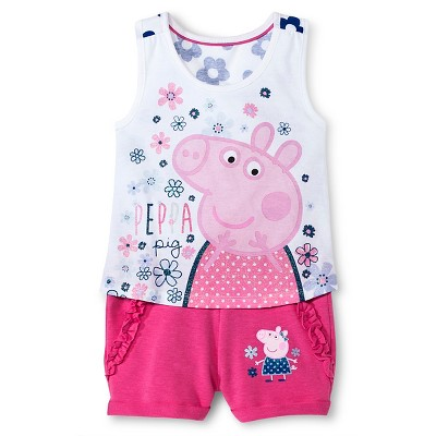 Toddler Girls' Peppa Pig Sleeveless Tank and Roll Up Short Multicolored - 2T