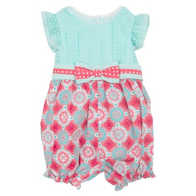 Rare-Too! Baby Girls' Lace and Printed Romper - Mint/Coral 3-6 M