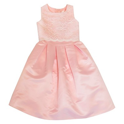 Baby Girls' Lace and Satin Flower Girl Dress - Pink 12 M