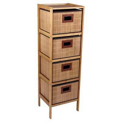 Household Essentials® 4-Tier Storage Drawer Unit - Natural Bamboo
