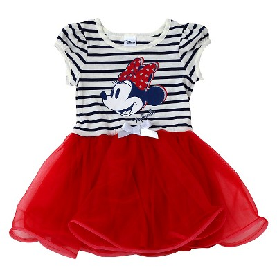 Baby Girls' Minnie Mouse Striped Dress Red - 12M