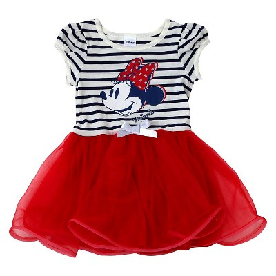 Toddler Girls' Minnie Mouse Striped Dress Red - 2T