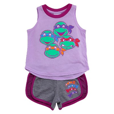 Toddler Girls' Teenage Mutant Ninja Turtles 2-Piece Tank Top and Short Set Lilac - 4T