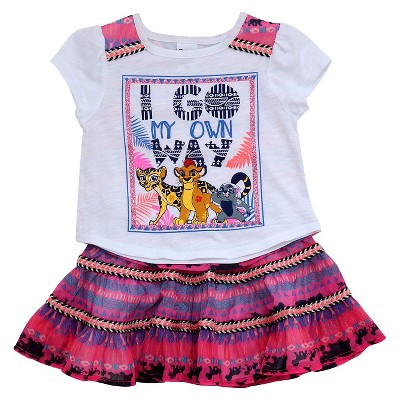 Baby Girls' Lion Guard 2-Piece Tunic and Circle Skirt Set White/Pink - 12M