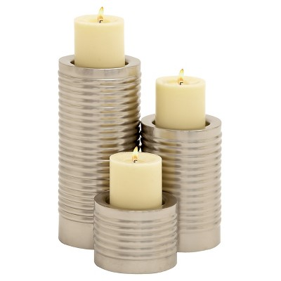 Simply Amazing Metal Candle Holder set of 3 - Brushed Nickel