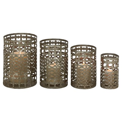 Radiating and Unique Styled Metal Candle Holder set of 4 - Mesquite