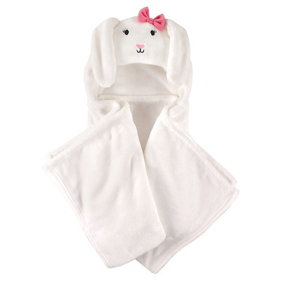 Hudson Baby Coral Fleece Hooded Blanket - White Bunny