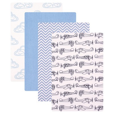 Hudson Baby Receiving Flannel Blankets 4pk - Blue Airplane