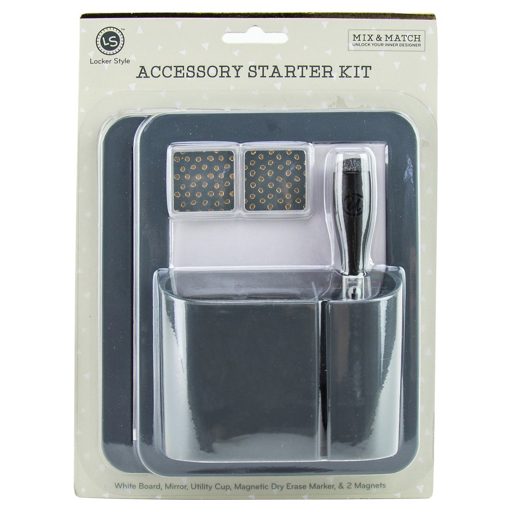Locker Style Dry Erase Board Value Pack with Marker, Cup, and Magnets - Grey