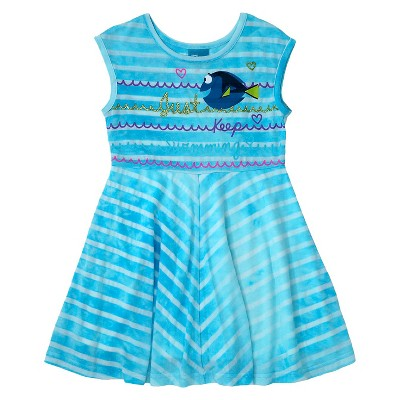 Baby Girls' Finding Dory Tie Dye Design Dress Blue - 12M