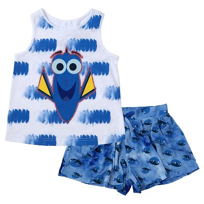 Baby Girls' Finding Dory 2-Piece Tie Dye Design Tank Top and Short Set White/Blue - 12M