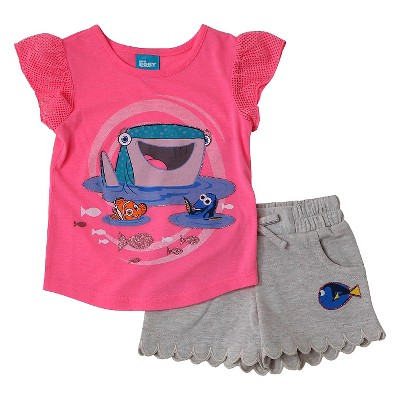 Baby Girls' Finding Dory 2-Piece Tunic and Short Set Pink/Gray - 18M