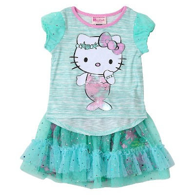 Toddler Girls' Hello Kitty 2-Piece T-Shirt and Skirt Set Blue - 5T
