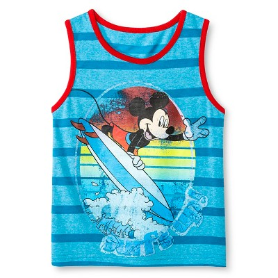 Baby Boys' Mickey Mouse® Stripe Tank Top - Turquoise Blue 18 M