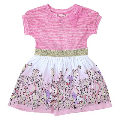 Baby Girls' Hello Kitty Floral Dress Pink - 12M