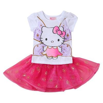 Baby Girls' Hello Kitty 2-Piece Tunic and Skirt Set White/Pink - 12M