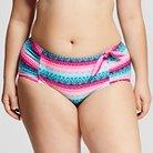 Women's Plus Size Printed Hipster Swim Bottom Persian Blue XL - Marie Meili