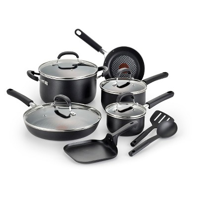 T-Fal 12 Piece Opticook Non-Stick Cookware Set - Black