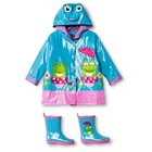 Girls' Wippette Frog Rain Jacket and Rain Boots Set Blue