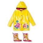 Girls' Wippette Flower Rain Jacket and Rain Boots Set Yellow