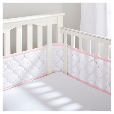 BreathableBaby® Ultra Luxe Embroidered Mesh Crib Liner - White & Pink