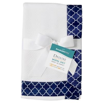 BreathableBaby® Modal Blanket - Moroccan Design - White & Navy