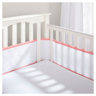 BreathableBaby® Deluxe Embossed Mesh Crib Liner - White & Coral
