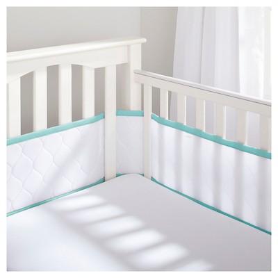 BreathableBaby® Deluxe Embossed Mesh Crib Liner - White & Seafoam
