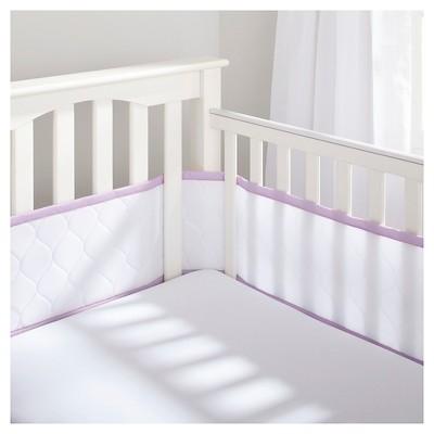 BreathableBaby® Deluxe Embossed Mesh Crib Liner - White & Lavender