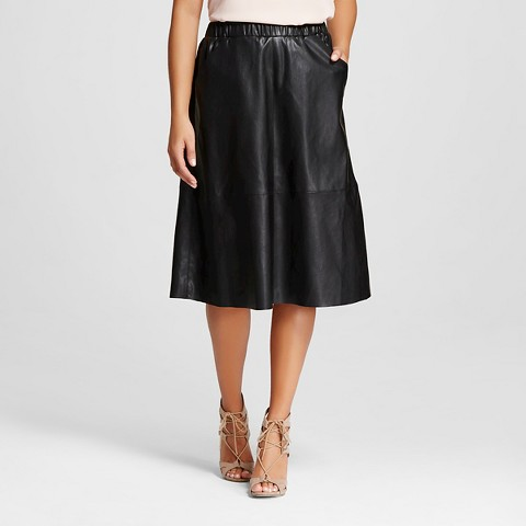 s vegan leather midi skirt black bagate target