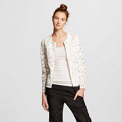 Women's Lasercut Faux Leather Jacket White - Bagatelle City