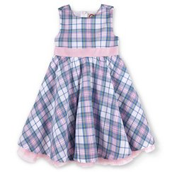 G-Cutee® Toddler Girls' Plaid Print Special Occasion Dress With Pink Ribbon Pink/Blue
