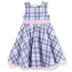 G-Cutee® Girls' Plaid Print Special Occasion Dress With Pink Ribbon Pink/Blue